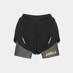 【男子】交叠式透气运动短裤-酷雅灰