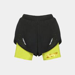 【男子】交叠式透气运动短裤-明亮黄