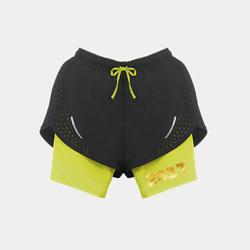【女子】交叠式透气运动短裤-明亮黄