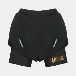 【男子】交叠式透气运动短裤-夜空黑